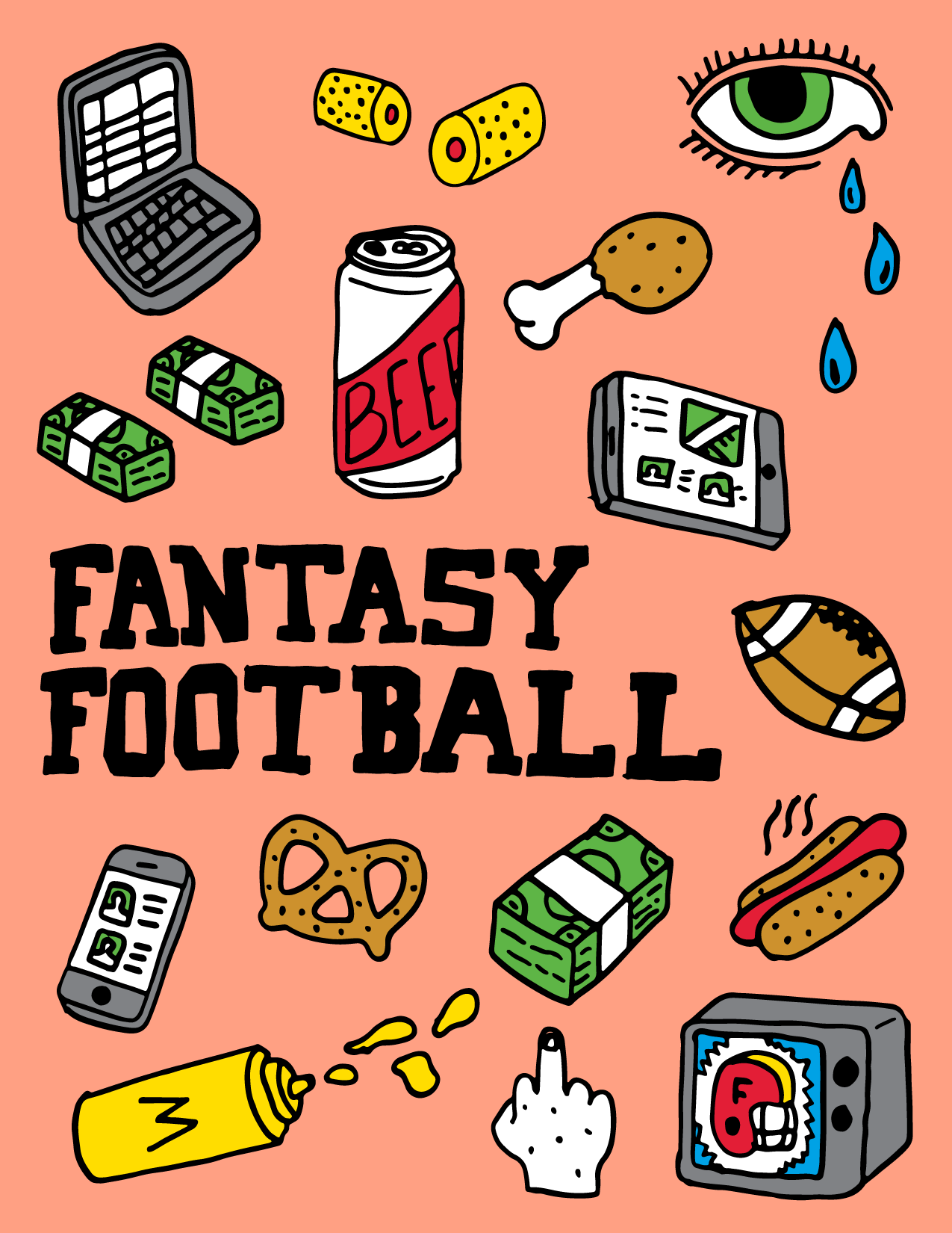 Fantasy Football Illustration Poster